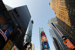 Times Square. Looking up at Times Square in New York City royalty free stock images