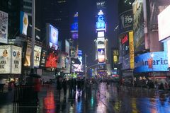 Times Square. In New York City at night stock photos