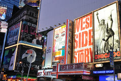 Times Square. Theater and production advertisements in Times Square New York City at dawn royalty free stock photography