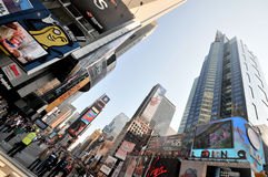 Times Square. A wide-angle view of the sky scrapers at the Times Square, New York royalty free stock image