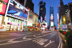 Times Square. A rare view of an empty Broadway in Times Square in New York City royalty free stock images