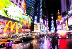 Times Square. Manhattan's famous Times Square, New York city at night royalty free stock photography