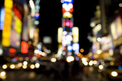 Times Square. Abstract shot of Times Square's lights at night in New York city, USA royalty free stock photo