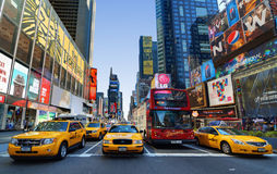 Times Square. In the borough of Manhattan in the City of New York is the world's most visited tourist attraction bringing over 39 million tourists annually royalty free stock photos