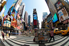 Times square. Fisheye view, NY USA royalty free stock photography
