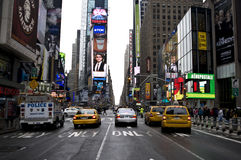 Times Square. In New York City Looking South from the middle of the street with Taxi Cabs and colorful billboards stock photo