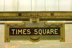 Times Square. Subway station sign royalty free stock images
