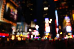Times Square abstract - NYC. Abstract view of Times Square lights at night - New York City, USA (defocused to avoid copyright infringements stock photos