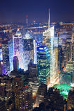 Times Square aerial view at night. New York City Manhattan Times Square panorama aerial view at night with office building skyscrapers skyline illuminated by stock photo