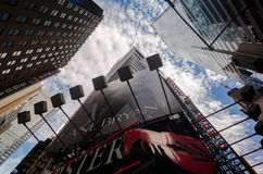 Times Square from below, Broadway theaters and led signs, a symbol of New York City and the United States. New York City, USA - Aug 09, 2016: Times Square is a royalty free stock photos