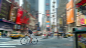 Times Square Bicycle Blur New York USA Stock Photography