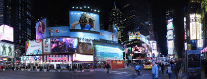 Times Square Billboards Panorama. A Panorama of Times Square New York City Stock Image
