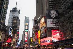 Times Square. The bright lights and advertisements in Times Square royalty free stock photography