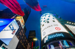 Times Square, Broadway theaters and led signs at night, a symbol Royalty Free Stock Photos