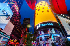 Times Square, Broadway theaters and led signs at night, a symbol. New York City, USA - Aug 12, 2016: Times Square is a busy touristic intersection of neon lights stock images