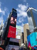 Times Square in New York City. Times Square Buildings and advertising signage on buildings in New York City stock images