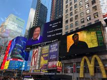 Times Square in New York City. Times Square Buildings and advertising signage on buildings in New York City stock image