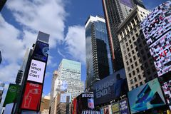 Times Square in New York City. Times Square Buildings and advertising signage on buildings in New York City stock photos