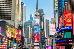 Times Square ,is a busy tourist intersection of neon art Stock Photography