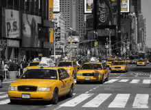 Times Square cabs. Black and white and yellow photo of Times Square, New York Royalty Free Stock Images