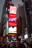 Times Square crowds and traffic at evening. Royalty Free Stock Photography