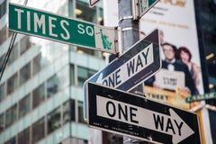 Times Square de las placas de calle Imagen de archivo
