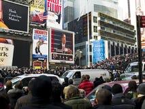 Times Square de Obama Imágenes de archivo libres de regalías