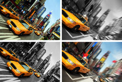 Times Square de taxi de New York City, tache floue de mouvement Images libres de droits