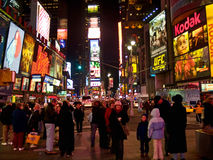 Times Square Dec 08. Crowds of people come from all over the world to Times Square in Manhattan to enjoy the holidays Royalty Free Stock Images