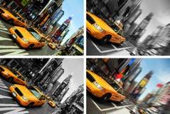 Times Square del taxi de New York City, falta de definición de movimiento Imágenes de archivo libres de regalías