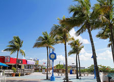 Times Square in downtown Fort Myers Beach. FORT MYERS BEACH, FL, USA - July 21, 2015: Times Square in downtown Fort Myers Beach with blue skies on a windy day Stock Images