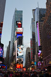 Times Square at dusk. Times Square rush hour at dusk royalty free stock images