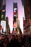 Times Square en la puesta del sol Imágenes de archivo libres de regalías