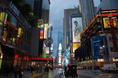 Times Square en la puesta del sol, New York City Foto de archivo libre de regalías