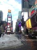 Times Square en nieve en invierno imagen de archivo libre de regalías