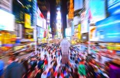 Times Square en Nueva York con efecto del movimiento Fotografía de archivo