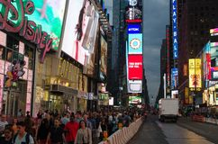 Times Square in the evening. TIMES SQUARE, NEW YORK, NY, USA - JUNE 09: Times square in the evening, June 09, 2015 royalty free stock photos