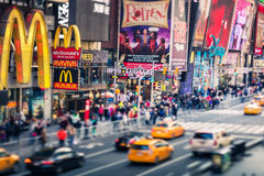 Times Square, famous street of New York City and US, Tilt-Shift Royalty Free Stock Photo