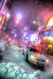 Times Square i snö Royaltyfri Foto
