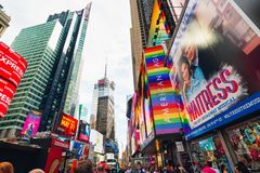 Times Square is an Iconic Street of New York City. Street View, Neon Art, Billboards, Traffic, Street Artists and Tourists. New stock photo