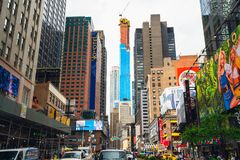 Times Square is an Iconic Street of New York City. Street View, Neon Art, Billboards, Traffic, Street Artists and Tourists. New York, May 24, 2019 stock photos