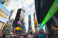 Times Square is an Iconic Street of New York City. Street View, Neon Art, Billboards, Traffic, Street Artists and Tourists. New York, May 24, 2019 royalty free stock photo