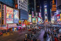 Times Square la nuit Images libres de droits