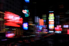 Times Square lights with blurred motion effect, New York, City. USA stock image