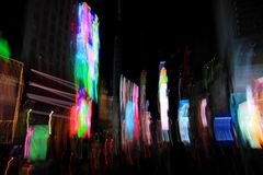 Times Square lights with blurred motion effect, New York, City. USA royalty free stock photos