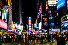 Times square. Lights by night stock images