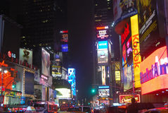Times Square. Lite up at night Stock Images