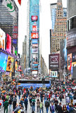 Times Square with lots of visitors in New York City royalty free stock images