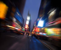 Times square, Manhattan, New York. Radial blur royalty free stock images