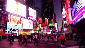 Times Square Manhattan New York in the evening USA cityscapes stock video